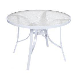 Mesa Summer com Tampo de Vidro Ø 105 c furo para ombrelone - Alumínio Branco