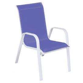 Cadeira Empilhável Summer - Tela Azul - Alumínio Branco