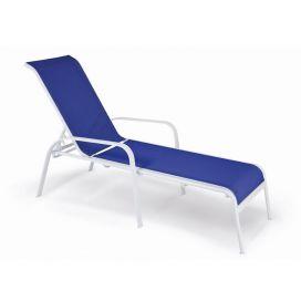 Espreguiçadeira Empilhável Summer - Tela Azul - Aluminío Branco